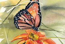 Art- Watercolor Dragonflies and Butterflies