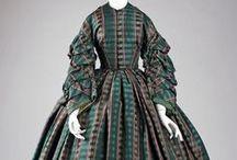 19th century : Crinolines à carreaux / plaid & check crinoline dresses
