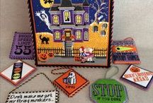 Halloween Needlepoint / Halloween and spooky needlepoint with ghosts and ghouls, witches and scary things.