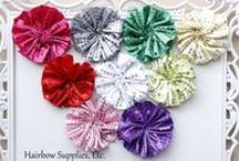 HSE Silk Flowers / Your One-Stop Hairbow Supply Shop!  Solid and printed grosgrain ribbon, alligator clips, silk flowers, 60 styles of fold over elastic, glitter elastic, lace elastic, rhinestone buttons, and so much more!   / by Hairbow Supplies, Etc.