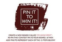 "Pin It To Win It! / Enter our ""Pin It To Win It!"" Pinterest contest for a chance to win Aggie merchandise! Follow the contest guidelines and get creative! The contest will run from Monday, July 21 until midnight on Monday, July 28. We will notify 1 grand prize winner and 3 runner-ups on Wednesday, July 30, so be sure to submit your contact information in the link provided. Thanks for your participation and gig 'em! / by Texas A&M University"
