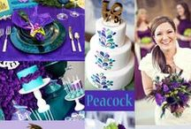 Peacock Colors Wedding / The ever-popular peacock color scheme exudes elaborate elegance. Play off of the brilliant shades commonly found in peacock feathers. This array of colors makes it fun and easy to create wedding bliss!
