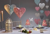 Romantic Wedding Decor created using our Paper Lanterns & Laser Cut pretties / Beautiful romantic décor for any proposal, wedding or event! Add instant romance in an elegant and sophisticated way using traditional paper lantern colours associated with love including red and pink.
