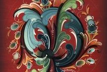 Rosemaling / A board grouping some illustrations of rosemaling, this nice norwegian/scandinavian art!