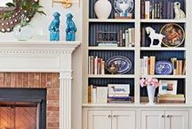 Decorate bookcase shelves / Sometimes we decorate our shelves with just books, other times it is nice to have decorative elements as well as books on shelves. This is a collection of examples of how to decorate shelves.