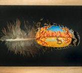 Feather art by Höyhenenkevyttä / Hand painted art on chicken feathers. #art #feather #feathers #paint #painted #acrylicpaint #natural