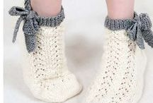 Shoes and socks knitted and crochet