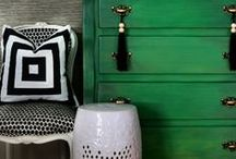 Emerald green with black & gold accents