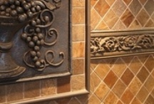 Creative floor, backsplash and counter top designs...