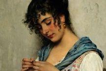Seamstress in art