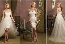 Bridal Wardrobe Change / Ceremony to Reception, Long to Short. Find gorgeous wedding dresses for your wedding reception. http://www.maweddingguide.com/bridalfashions/gown/reception-wedding-dress.htm