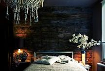 Dark & Moody | Home Decor Ideas / inspiration: dark walls; dramatic light fixtures; black, gray + deep color accents; rooms with a sense of the past but contemporary at the same time.