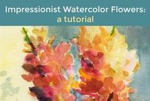 Watercolor Tutorials / There are so many ways to paint with watercolor. The best way, I think, is to find your own style through experimenting with different watercolor techniques. Here are some tips, ideas and step by step tutorials for beginning watercolor painting.