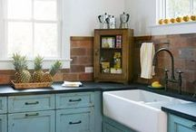 kitchen. / wood, white, gray,teal, & yellow.  / by Mallory Salazar