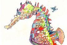 motif: seahorses