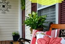 Porches I Love / Porches remind me of evening conversations with crickets chirping with friends and family dropping by.  Porches that are friendly and welcoming with comfortable places to sit are great!