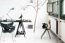 Workspaces / design studio, industrial office space, vintage, retro, white, black, Eames, Friso Kramer, Tolix, Bertoia, desks, chairs, lockers