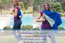 Cuddlecloth® and Cuddlepet® / Cuddlecloth is a patented bath towel designed for baby's safety.  Wearable towel with a natural instant release from mom when she covers baby!  Cuddlepet for small pets.