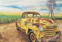 Cars & Trucks: Man Cave Artwork, The metal prints are awesome for Country chic decor, pillows / Old abandoned cars and trucks in decay. Once the pride of the people who owned the vintage cars and trucks. Watercolor Paintings by: DJ Laughin Man Cave Artwork, pillows,metal prints for country chic decor!
