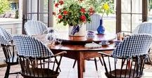 Dining By the Sea / Fabulous dining rooms and tablescape ideas for coastal living dining by the sea!  Look for fun beach-nautical dinnerware and glassware ideas too.