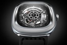 P1/01 / The first ever Sevenfriday time piece.  Inspired by Industrial Essence and featuring the now trademark 47 x 47.6mm rounded square, stainless steel case.  The animation ring has horizontal hard brushed stainless steel with a sandblasted line break.  This model has since ceased production, with the P1b taking it's place.