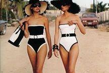 Classic Black and White Swimwear