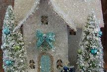 crafts - glitter / putz houses