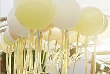 Baby Shower Ideas / Yellow, silver and white long table afternoon tea :)