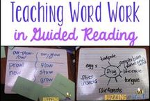 Word Study / Working with words with anchor charts, books, stations, and strategies. Prefixes, suffixes, context clues, root words, and decoding strategies.  / by Buzzing with Ms. B