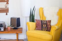 Le Babe: Room Inspo / Mustard yellow/Grey/gold accents/Nature photography