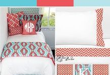 Coral And Aqua Dorm Room Bedding / Join the coral craze for dorm, apartment or home living. Add an accent of grey, turquoise, aqua etc.. Beautiful bedding and decor. / by Decor 2 Ur Door Bedding