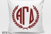 Alpha Gamma Delta Sorority / Black Vinyl Collage Frames -- Alpha Gamma Delta Decor -- Alpha Gamma Delta Monogrammed Pillow -- Alpha Gamma Delta Monogram -- Alpha Gamma Delta Sorority -- Alpha Gamma Delta Gifts -- Choose your fabric and monogram. Custom dorm and sorority decor. Decor 2 Ur Door.  / by Decor 2 Ur Door Bedding