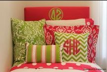 Delta Zeta Sorority / Delta Zeta Decor -- Delta Zeta Sorority and Dorm Room Headboard --Delta Zeta Monogram --Delta Zeta Sorority -- Delta Zeta Gifts -- Choose your fabric and monogram. Custom dorm and sorority decor. Decor 2 Ur Door. / by Decor 2 Ur Door Bedding