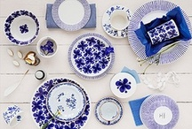 Blue and white on the table