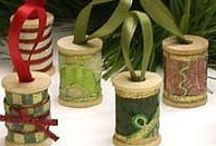 "Christmas Shabby Decorations / Using slightly worn or faded items, make some ""shabby"" ornaments for Christmas."