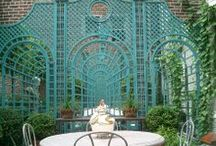 Outdoor Spaces and Plants / Outdoor garden design, barns, hardscaping, fencing, plants, ideas, inspiration, British, French, traditional, romantic, greenhouses, brick patterns, flowers, shrubs, landscaping ideas.