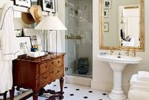 Bathrooms / Interior design and decor inspiration for bathrooms. Storage ideas and design representing boho, rustic, modern ruralist. Loving Europe and historic homes. Interior design and decor ideas for the rural modern living. Moody, lived in, boho, european, textured, formal, casual saturated color, thrifted, vintage, antique.