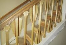 Cool stair railing / Creative stair railing design for a summer lake house retreat remodel project