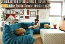 Home Stuffing / I like a living space to look simple, relaxed, more masculine than feminine, and more utilitarian than luxe. I'm not so into frills. I get excited seeing a colorblocked space, 70's spaces, Moroccan, and anything Shire-esque - like adobe homes with curves and built-ins. Here are spaces I really like, and some that I don't... I love looking at all of it! / by Joanna Lenn
