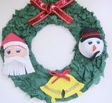 Corona Navideña con Goma eva y Papel crespón / Corona de Navidad con Goma eva y papel crespón