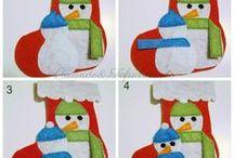 Bota Navideña con Muñecos de Nieve en Fieltro