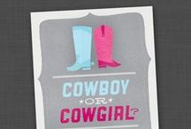 Gender Reveal Party - Cowboy or Cowgirl / Giddy up! A stock of cowboy party products to coordinate with our cowboy/girl themed gender reveal invitations and decor packages: http://etsy.me/tUkqQC  http://etsy.me/tGWeK8 and http://etsy.me/yzKjEy
