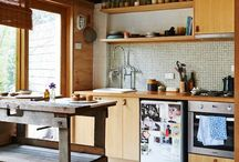 Kitchen madness / Great ideas for retro colourful and plywood kitchens