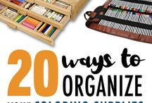 Craft Organization Ideas / Great ideas and products to help you keep your adult coloring supplies, drawing supplies or general art supplies organized! | Pencil storage ideas, coloring supplies, organize your coloring supplies, Copic storage ideas, Copic organization, craft room storage, craft room organization, DIY pencil storage, DIY marker storage