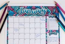 Printable Calendars and Planners / Time to organize your whole life with this collection of printables! | Find more printables and coloring pages at www.sarahrenaeclark.com  Coloring for adults, organizational printables, bullet journaling, get organized, printable planners, week planning, organize everything, organized life, home management, home binder organization, printable organizer, family charts, family command center, week tracker, goal tracker, habit tracker, budgeting, meal plan, family planner