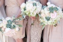 Wedding / desert elegance in champagne + platinum + blush  / by Cameron B.