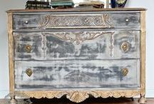 gray and greige painted furniture / filing away inspiration for a Dining Room Makeover