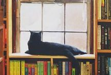 Literary Pets / cats, books, and bookstores
