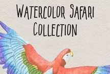 Watercolor Safari / Beautiful watercolor patterns featuring birds, bugs, butterflies, and flowers.