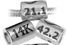 Race Distance Charms Large / Sterling Silver Race Distance Charms, will fit Pandora style chain, 12mm Long